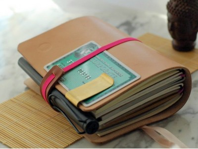 Knight Traveler's Notebook, Vegtable tanned Leather Original Color cover, Passport size. multi-function Diary